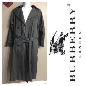 X Long BURBERRY GREY TRENCH JACKET COAT